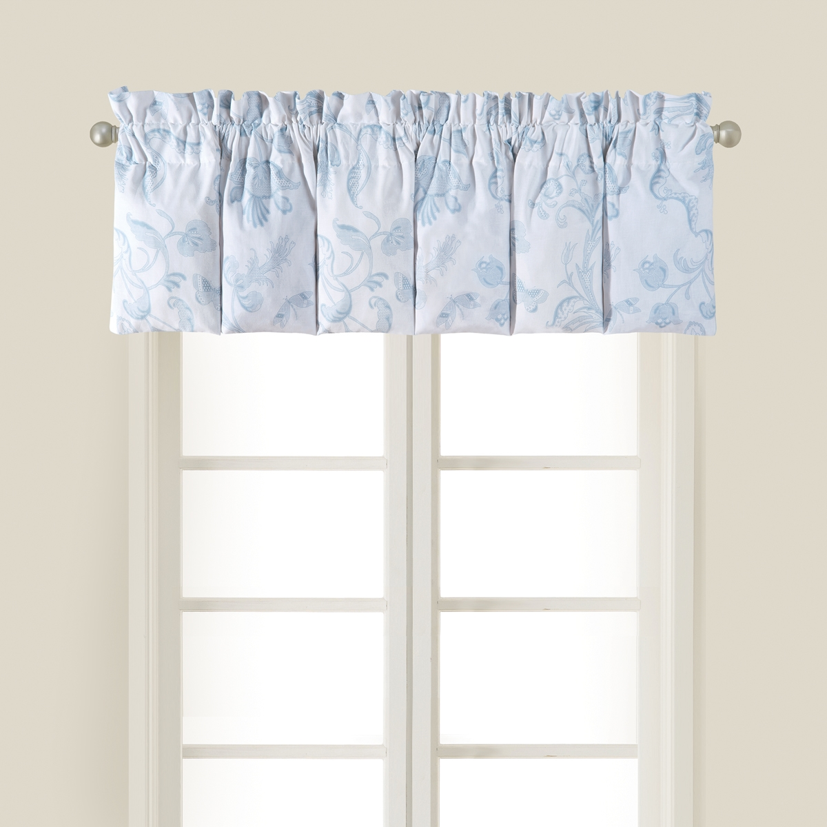 valance curtains jacquard p floral luxury blue window botanical polyester