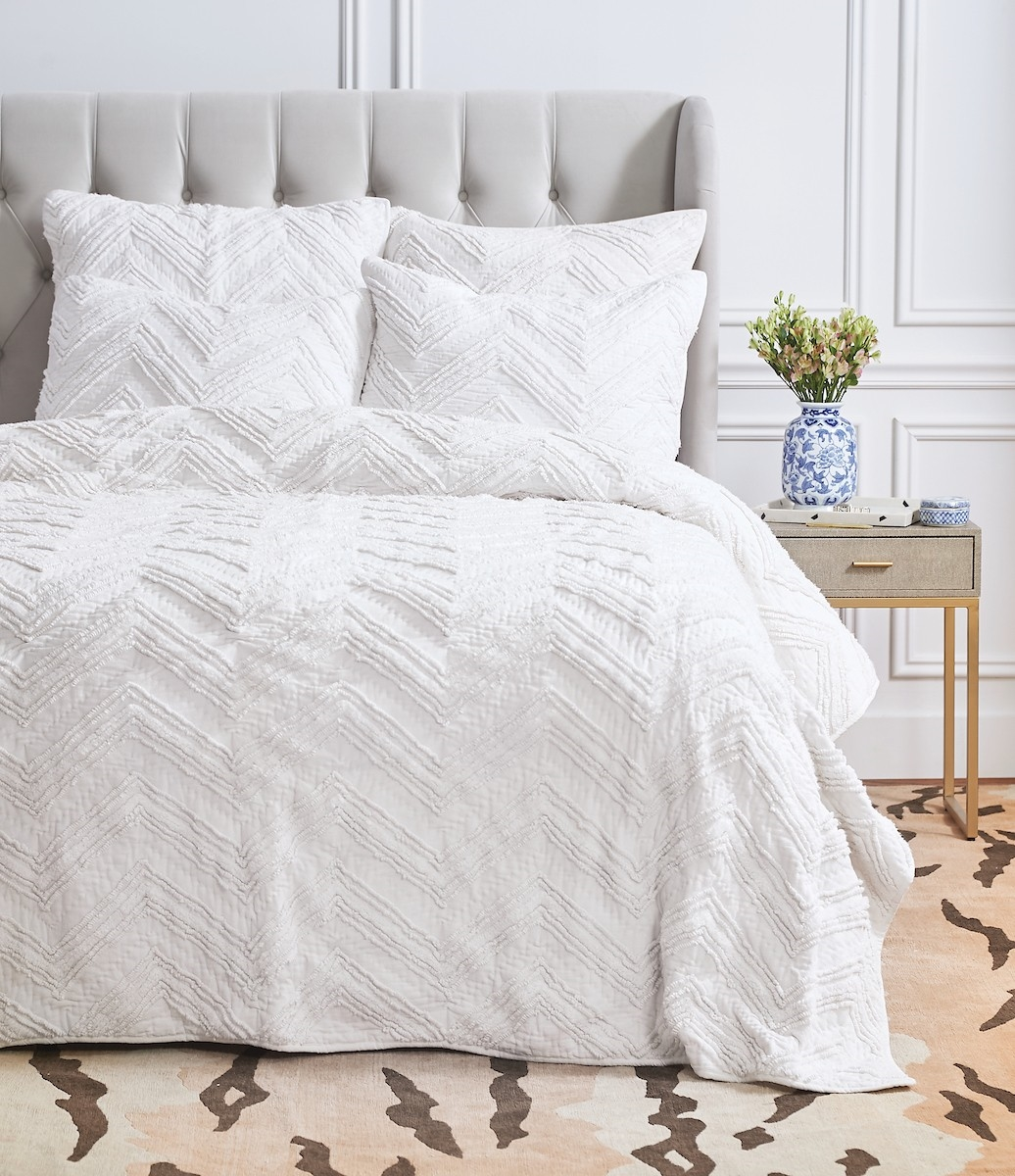 Candlewick Dove Queen Quilt,ELISABETH YORK,Hand Crafted,Luxury,Chenille,Candlewick,Pickstitch,Chevron,Texture,Bedding,Luxury Bedding,Quilt,Luxury Quilt