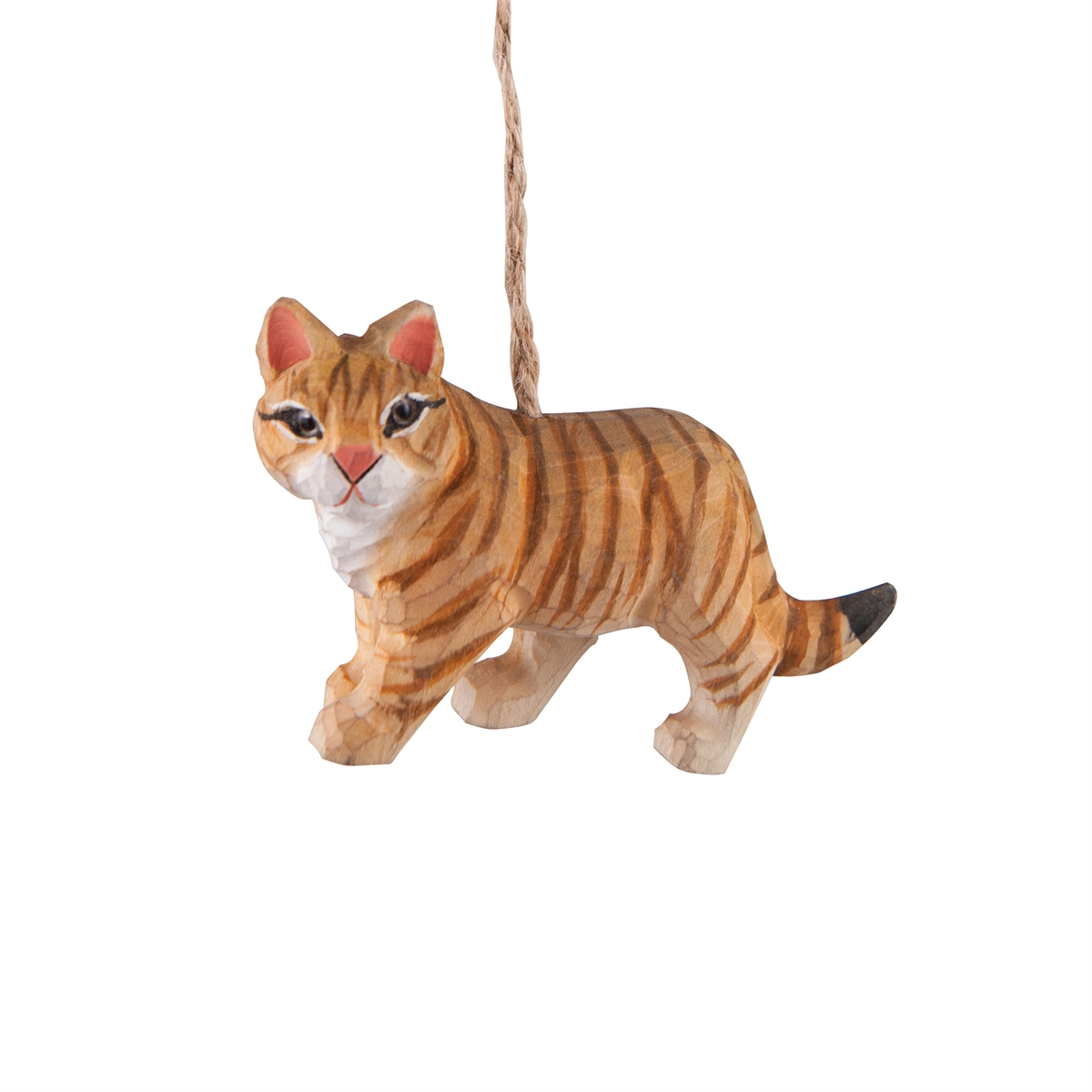 Tabby cat ornament - Carved Cat Ornament
