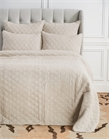 Sutton Natural Twin Quilt,ELISABETH YORK,Diamond,Chambray,Luxury,Bedding,Luxury Bedding,Quilt,Luxury Quilt