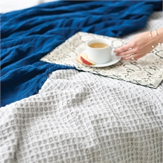 Waffle Pearl Grey Queen Coverlet,ELISABETH YORK,Waffle Weave,Luxury,Luxury Bedding,Coverlet,Luxury Coverlet,Bedding