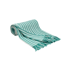 Bengal Stripe Lagoon Throw,carol & frank,Vertical Stripe,Yarn Dyed,Twill Weave,Mini Flange,Bedding,Luxury,Luxury Bedding,Throw,Luxury Throw