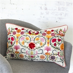 Pippa Decorative Pillow,carol & frank,Floral,Decorative Floral,Hand Embroidered,Cut Velvet,Symmetrical,Decorative Pillow,Luxury